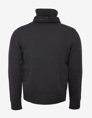 Moncler Grenoble Dark Grey Nylon Front Cardigan