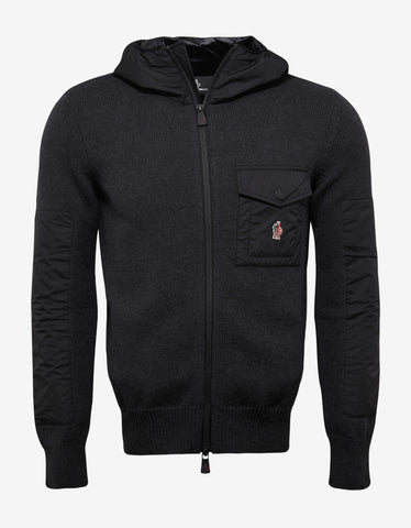 Moncler Grenoble Grey Hooded Sweater with Nylon Inserts