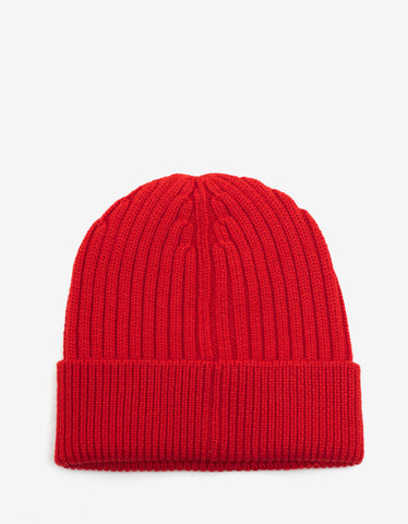 Moncler Grenoble Red Beanie Hat with Logo