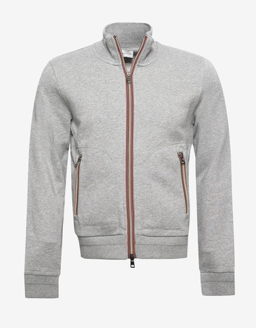 Moncler Grey Tricolour Trim Sweat Top