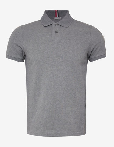Moncler Grey Tricolour Collar Polo T-Shirt ...
