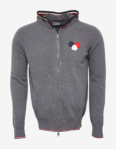 Moncler Grey Tricolour Logo Hooded Cardigan