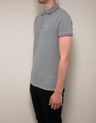 Moncler Grey Tricolour Trim Polo T-Shirt
