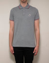 Grey Tricolour Trim Polo T-Shirt