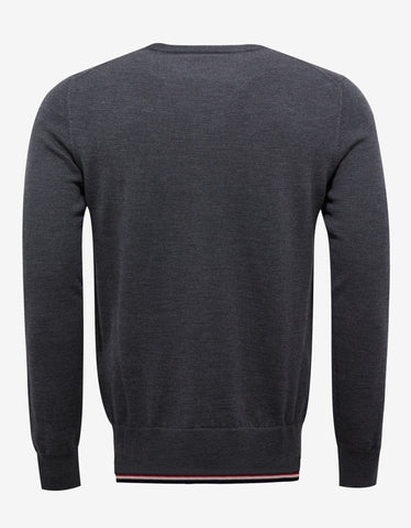 Moncler Grey Tricolour Trim Wool Sweater