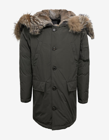 Moncler Grandalpe Green Parka with Fur Trim