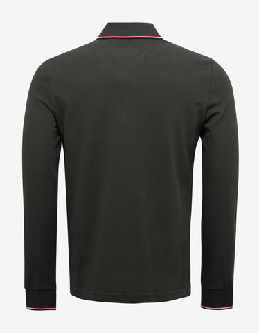 Moncler Khaki Tricolour Long Sleeve Polo T-Shirt