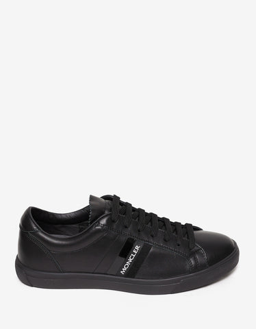 Moncler LA Monaco Black Leather Trainers