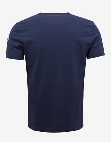 Moncler Navy Blue Logo Embroidery T-Shirt