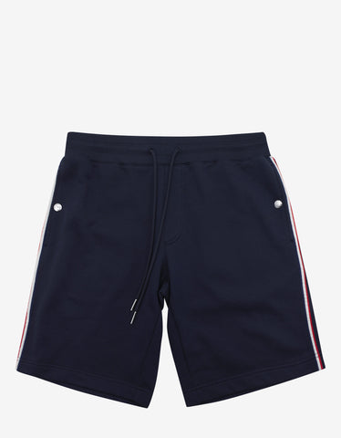 Moncler Navy Blue Tricolour Trim Sweat Shorts