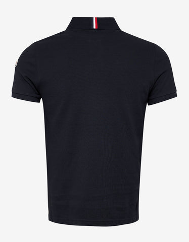 Moncler Navy Blue Tricolour Collar Polo T-Shirt