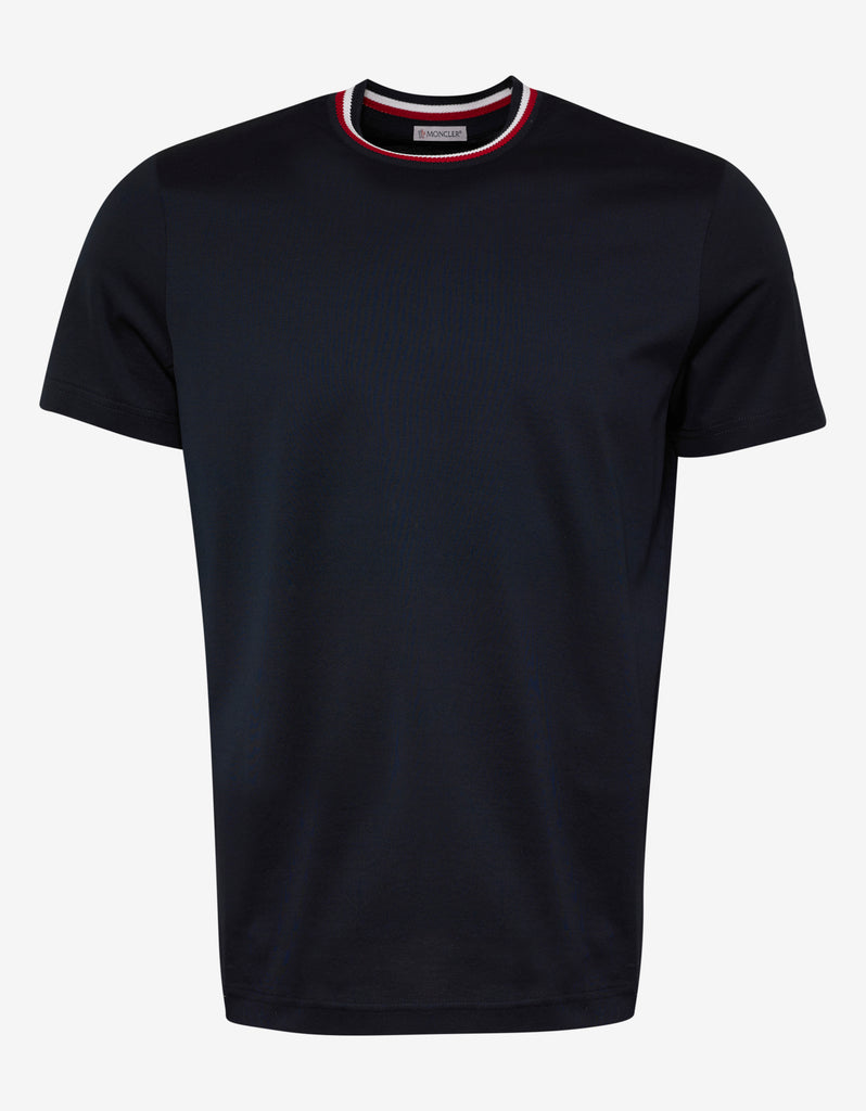 Moncler. Navy Blue Tricolour Collar T-Shirt