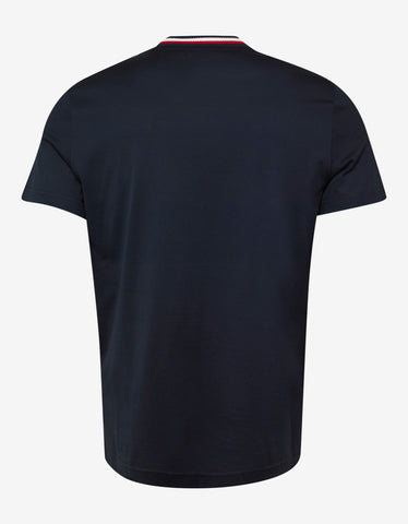 Moncler Navy Blue Tricolour Collar T-Shirt