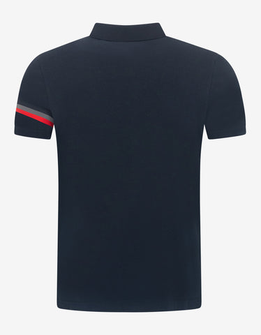 Moncler Navy Blue Tricolour Sleeve Polo T-Shirt