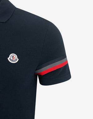 Navy Blue Tricolour Sleeve Polo T-Shirt