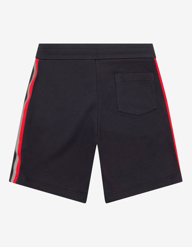 Moncler Navy Blue Tricolour Tape Sweat Shorts