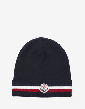 Navy Blue Tricolour Trim Logo Beanie Hat