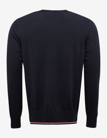 Moncler Navy Blue Tricolour Trim Wool Sweater
