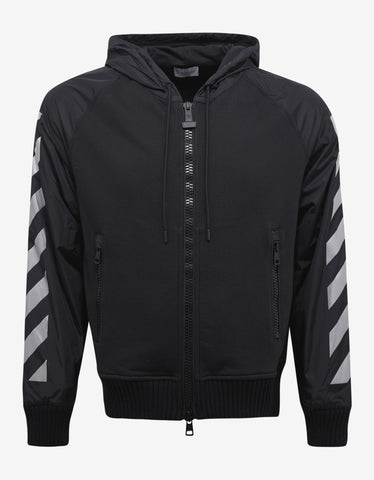 Moncler O Black Hoodie with Grey Reflective Stripes