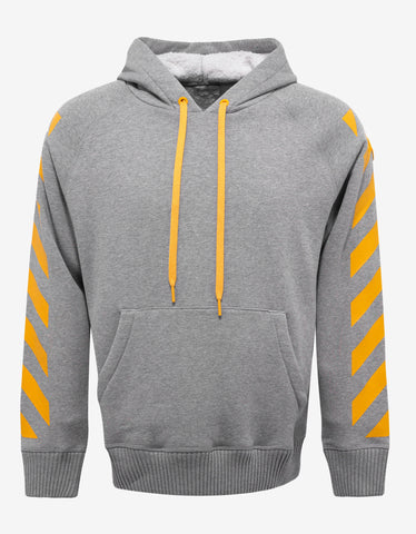 Moncler O Grey Hoodie with Yellow Print
