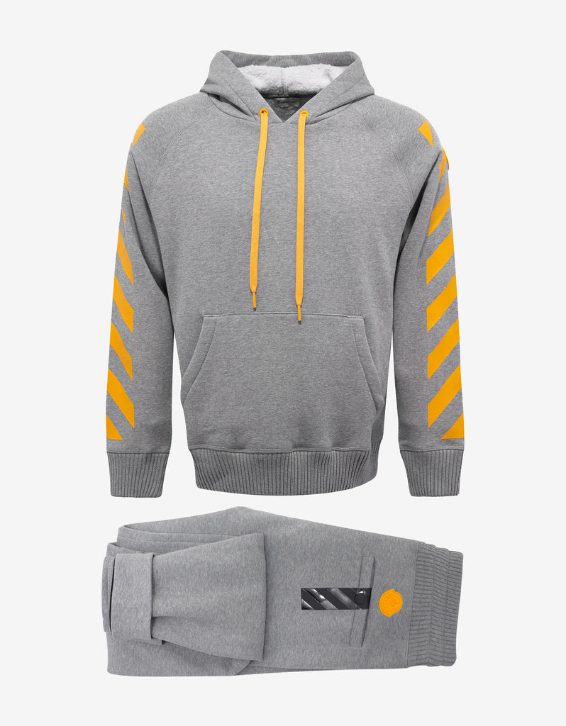 Grey Hooded Tracksuit with Yellow Print