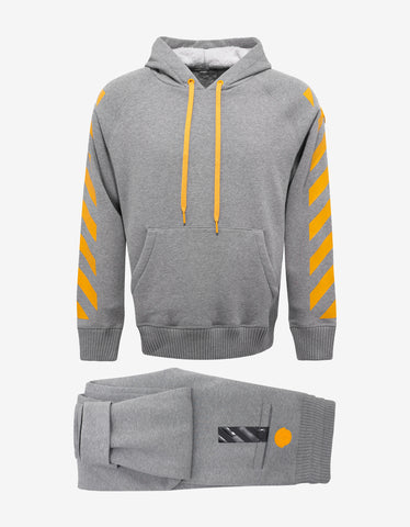 Moncler O Grey Hooded Tracksuit with Yellow Print