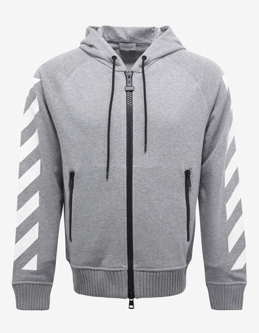 Moncler O Grey Hoodie with White Stripes