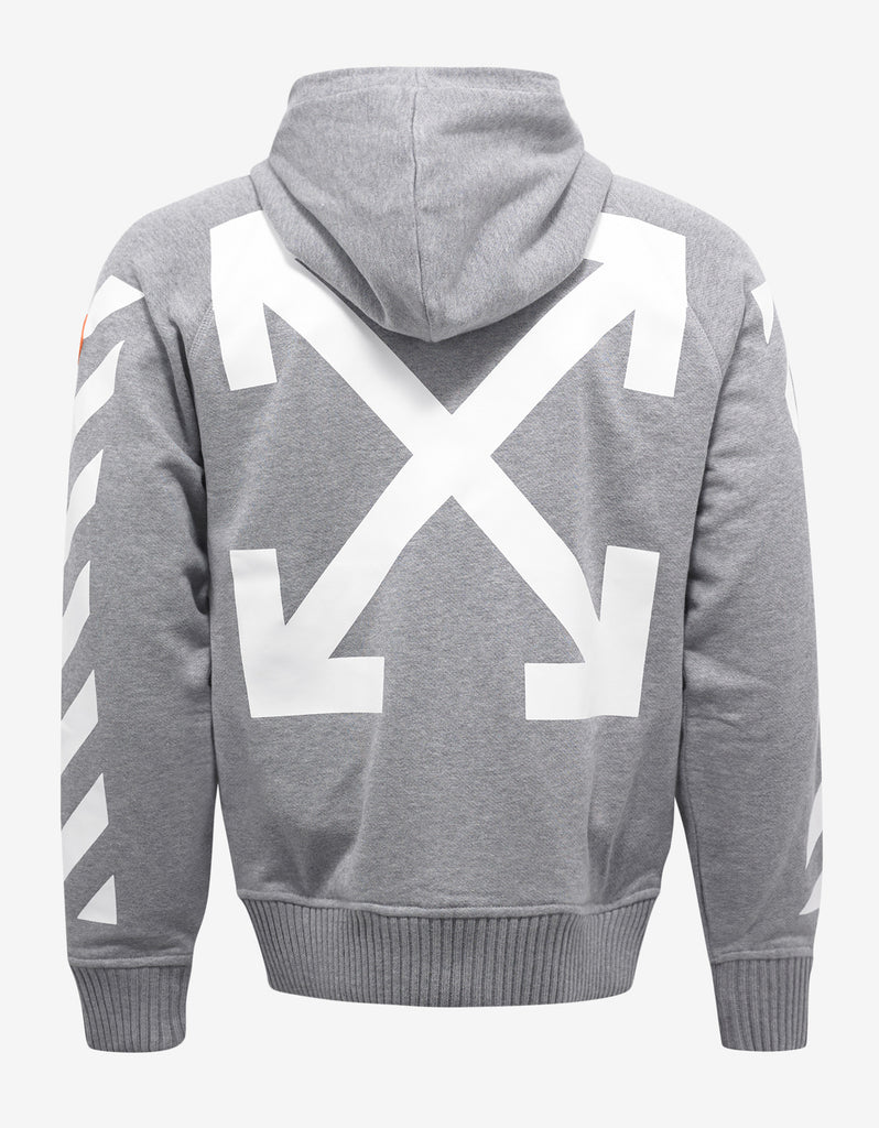 Grey Hoodie with White Stripes