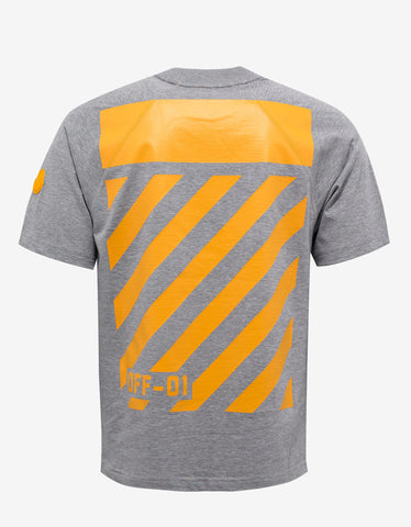 Moncler O Grey T-Shirt with Yellow Print