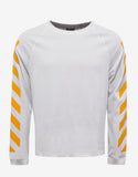 White Long Sleeve T-Shirt with Yellow Print