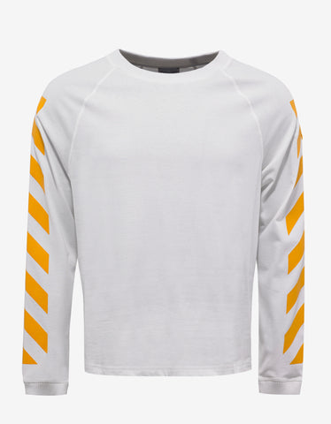Moncler O White Long Sleeve T-Shirt with Yellow Print