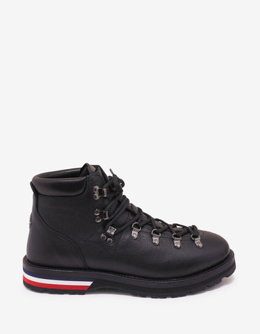 Moncler Peak Black Leather Ankle Boots