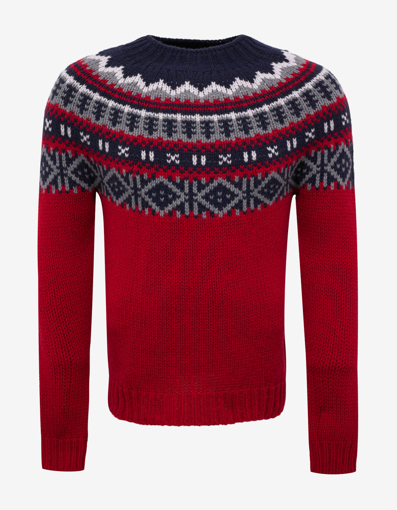 Red Fair Isle Wool Blend Sweater