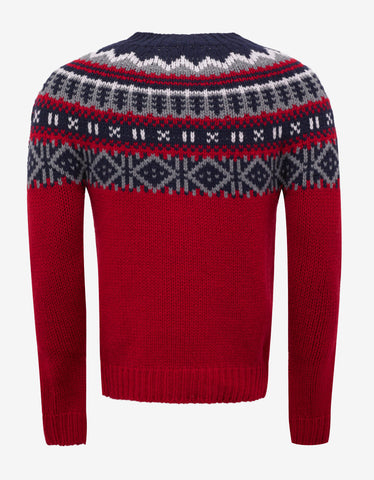 Moncler Red Fair Isle Wool Blend Sweater
