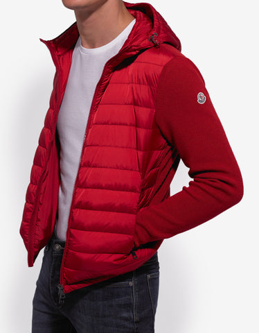 Moncler Red Nylon Front Hooded Cardigan