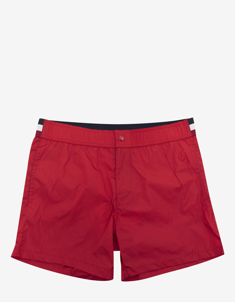 Red Tricolour Band Swim Shorts