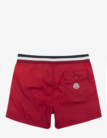 Moncler Red Tricolour Band Swim Shorts