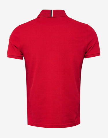 Moncler Red Tricolour Collar Polo T-Shirt