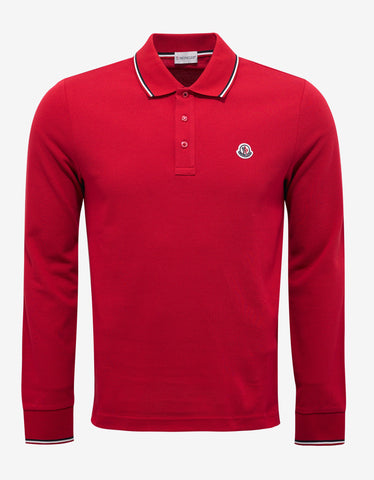 Moncler Red Tricolour Long Sleeve Polo T-Shirt