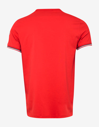 Moncler Red Tricolour Sleeve T-Shirt