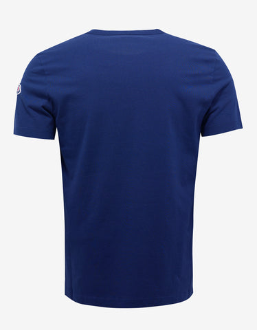 Moncler Royal Blue Logo Embroidery T-Shirt