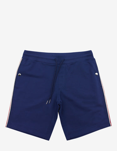 Moncler Royal Blue Tricolour Trim Sweat Shorts