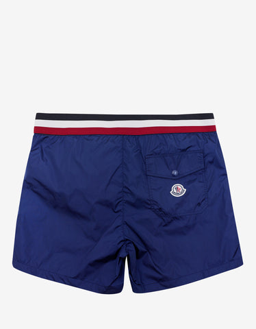 Moncler Royal Blue Tricolour Band Swim Shorts