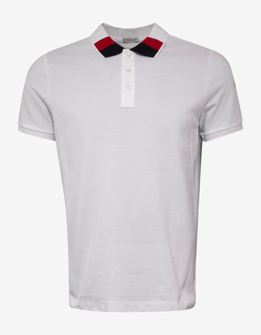 Moncler White Colour Block Collar Polo T-Shirt