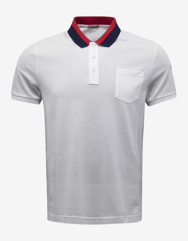 Moncler White Contrast Collar Polo T-Shirt