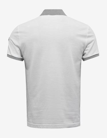 Moncler White Contrast Trim Polo T-Shirt