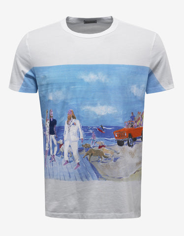 Moncler White Holiday Scene Graphic T-Shirt