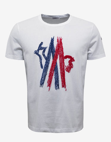 Moncler White Logo Embroidery T-Shirt