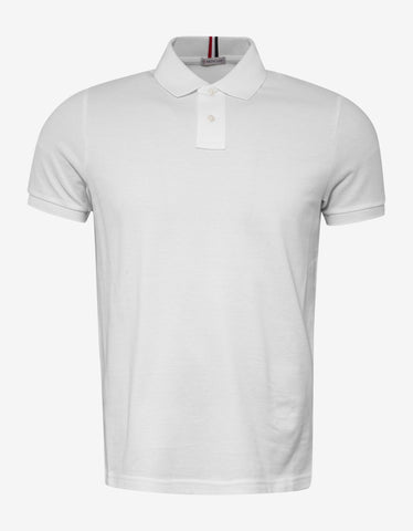 Moncler White Tricolour Collar Polo T-Shirt
