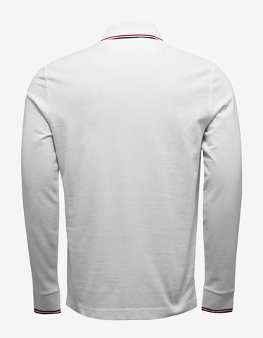 Moncler White Tricolour Long Sleeve Polo T-Shirt